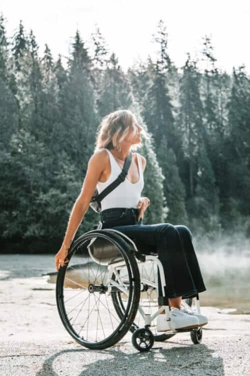 Young lady in a wheelchair at outside