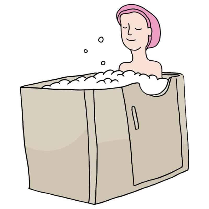 An woman in a bathtub