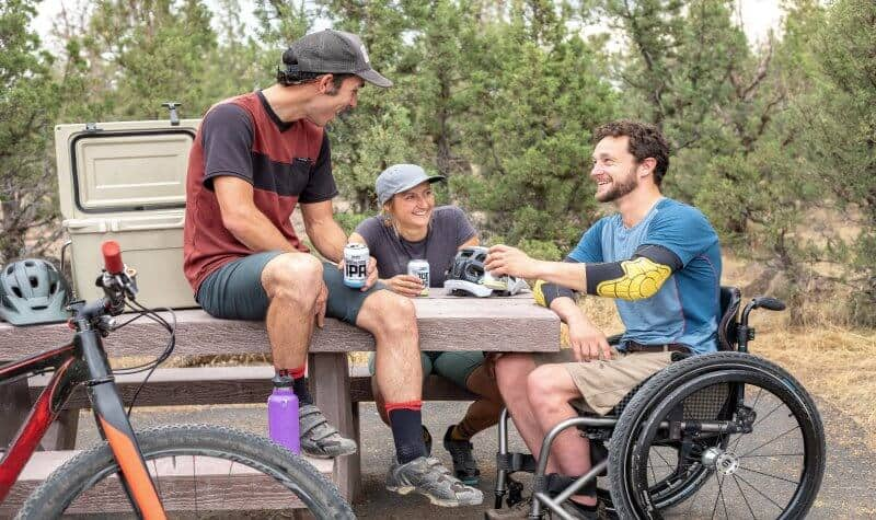 group of men with one boy using a wheelchair while having vacation