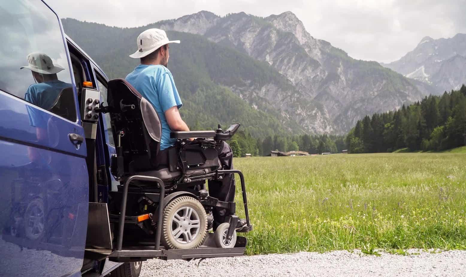 A man enjoying nature in a wheelchair.
