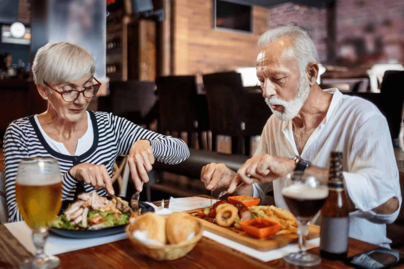senior couple having a dinner date