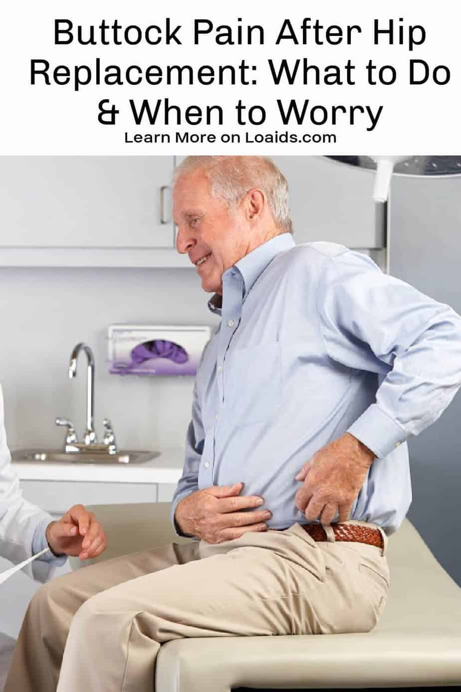 Senior man on doctors table pointing to where he has pain after hip replacement surgery.