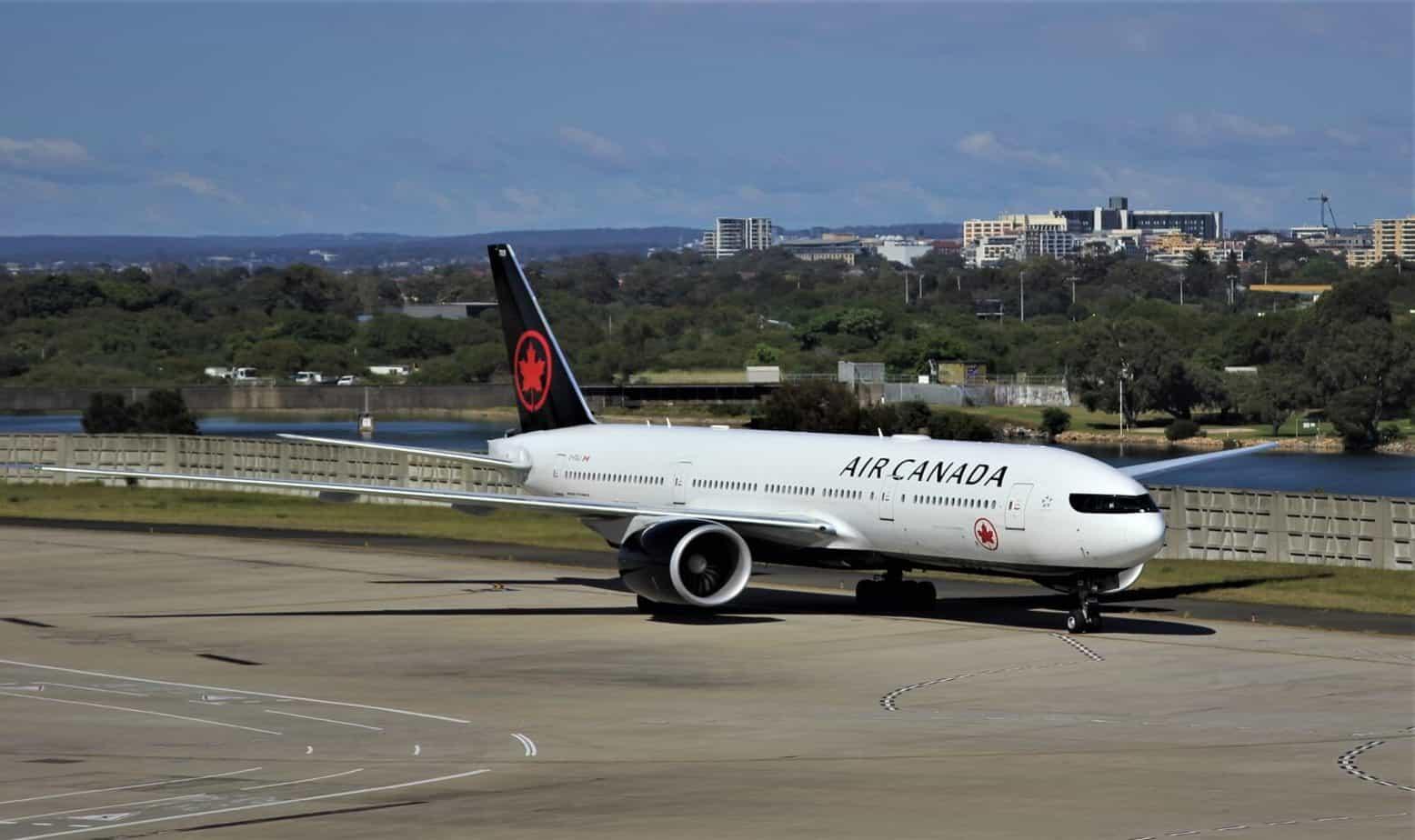 Air Canada airplane on board