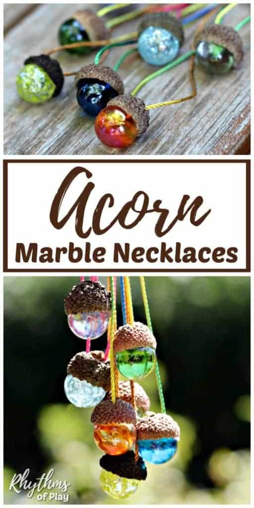 DIY necklace made of acorn and marble