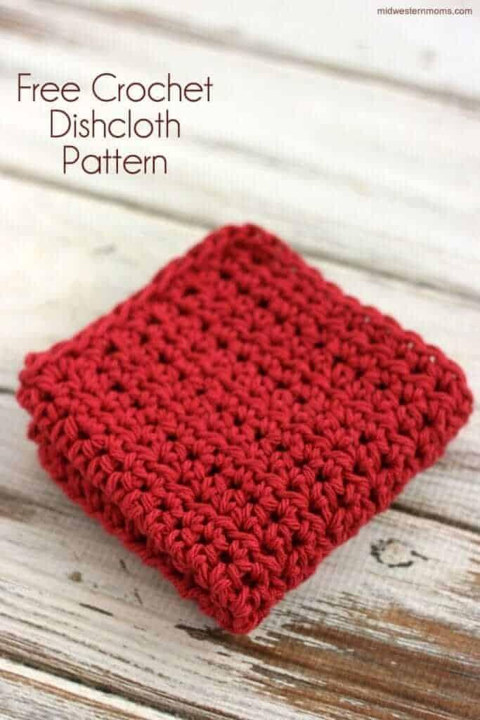 red crochet dishcloth