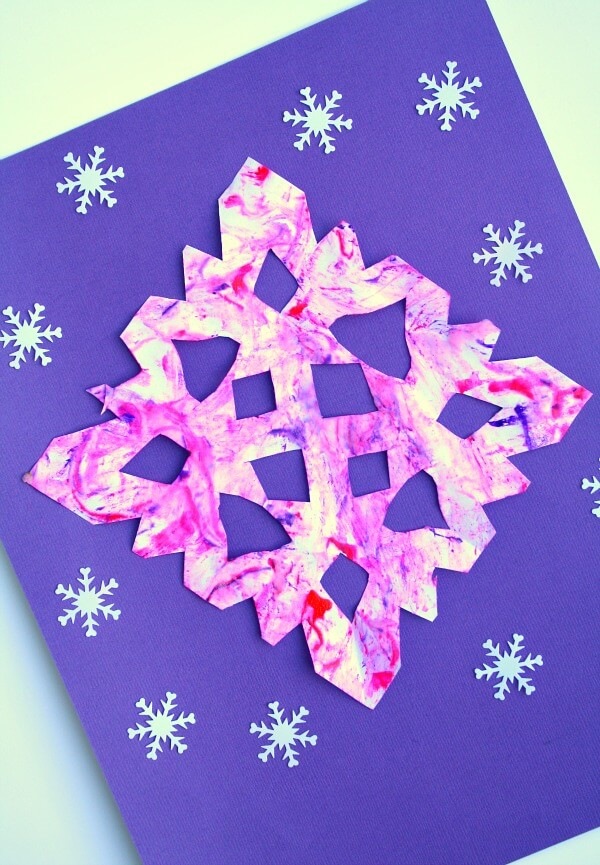 marble painted snowflake