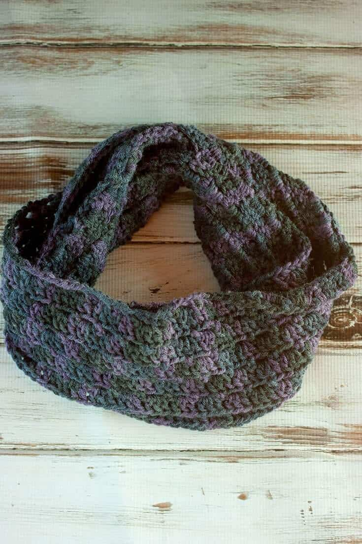 gray handmade crochet scarf