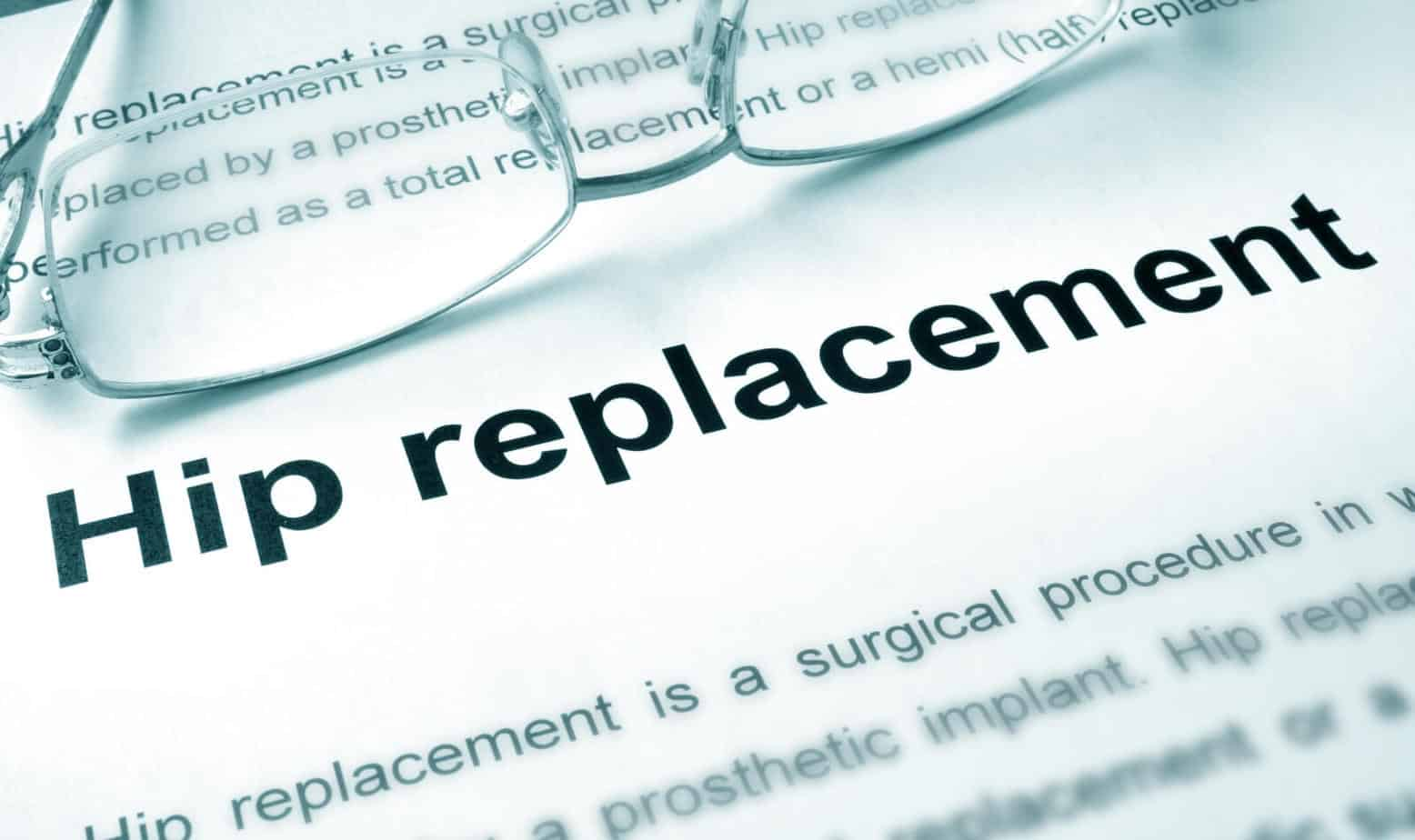 hip replacement typed in a paper