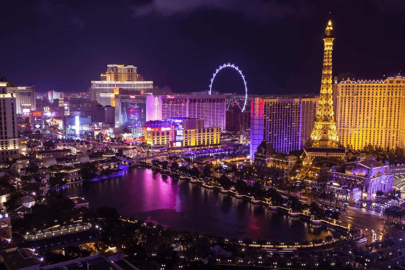 a great view of Las Vegas city night life