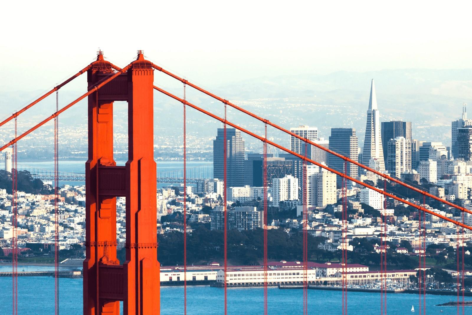 golden gate bridge with an overlook of the cities