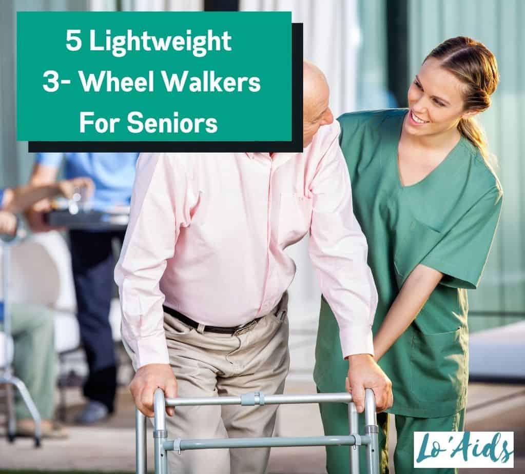 three wheeled walker used by an elderly man