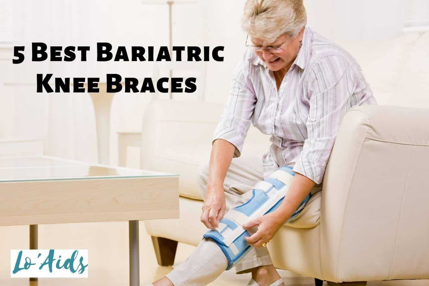 a senior woman wearing sunglasses is putting her new bariatric knee braces