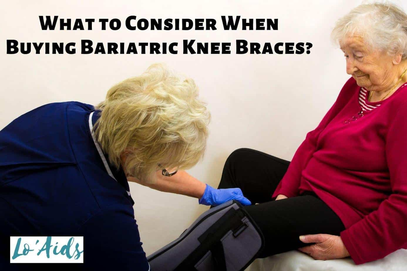 a doctor putting bariatric knee braces to a senior