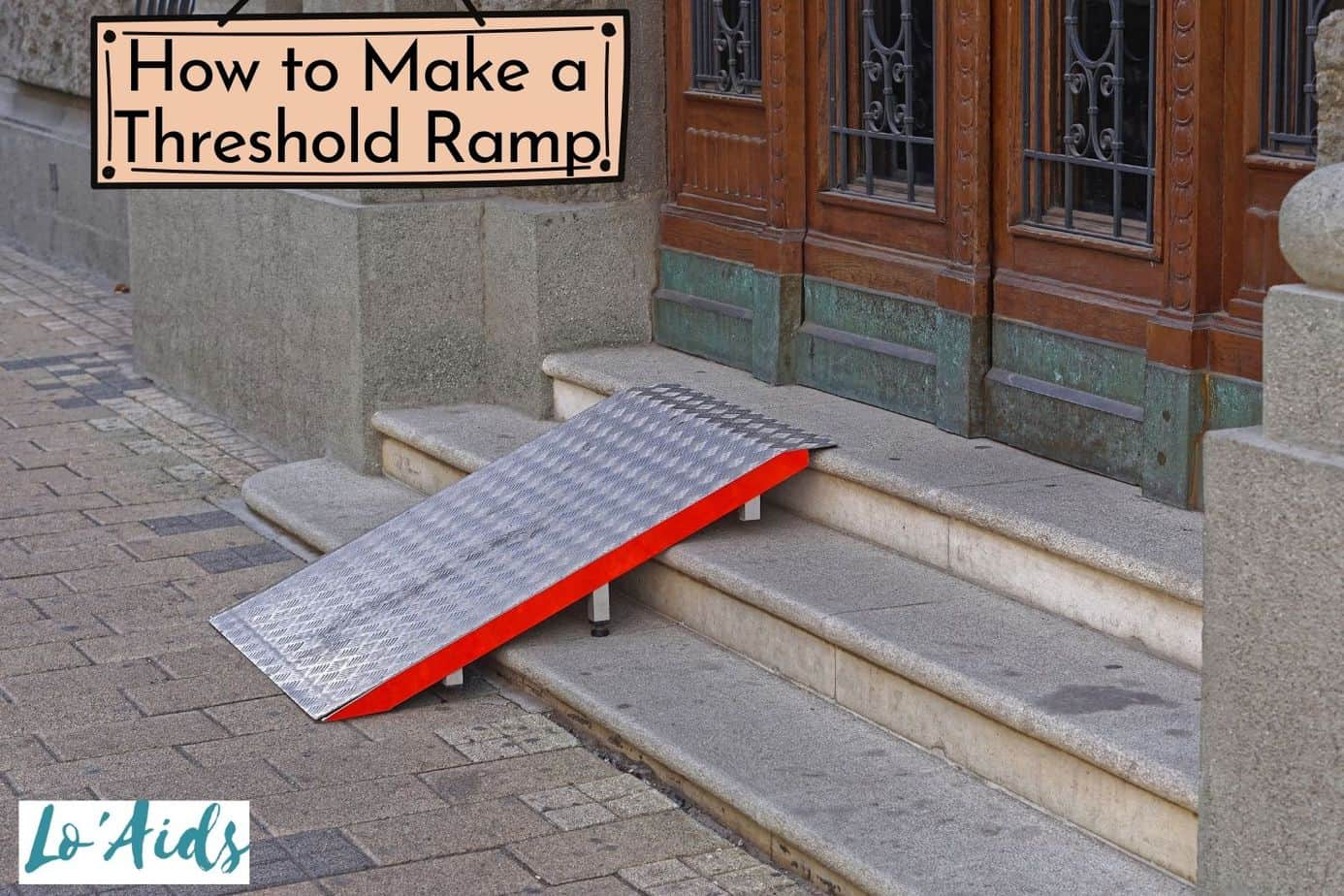 a diy threshold ramp in front of the wooden door