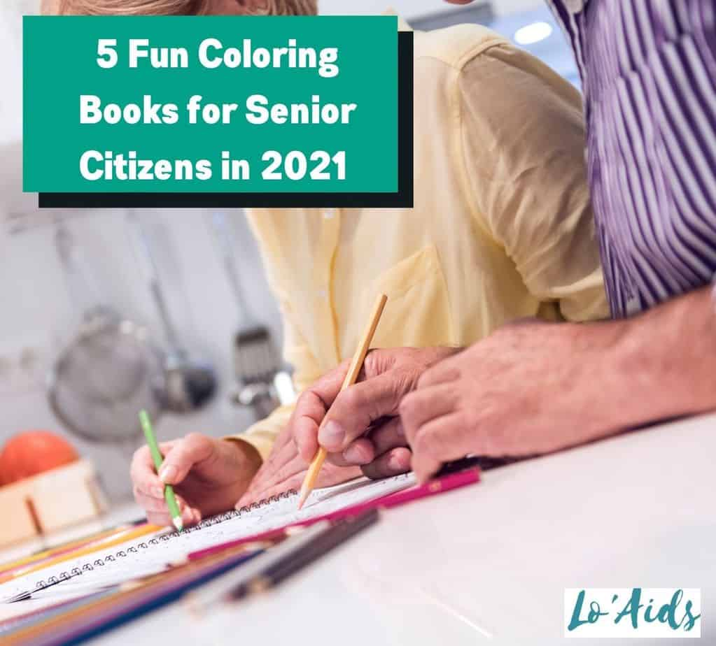 senior couple relaxing while using color books for seniors