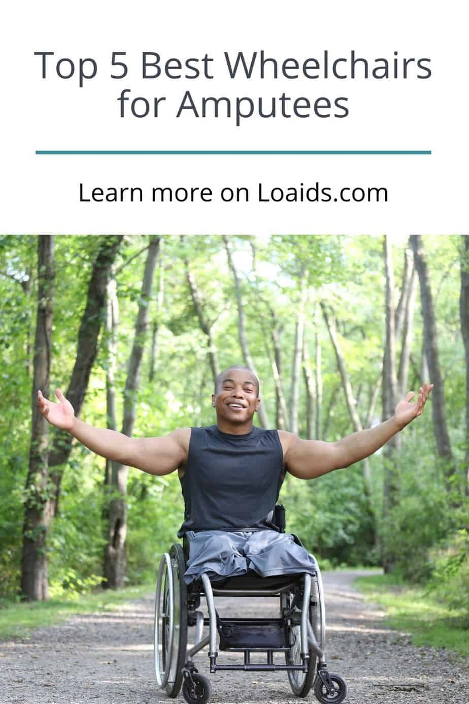 an amputee man raising his hands while in a wheelchair