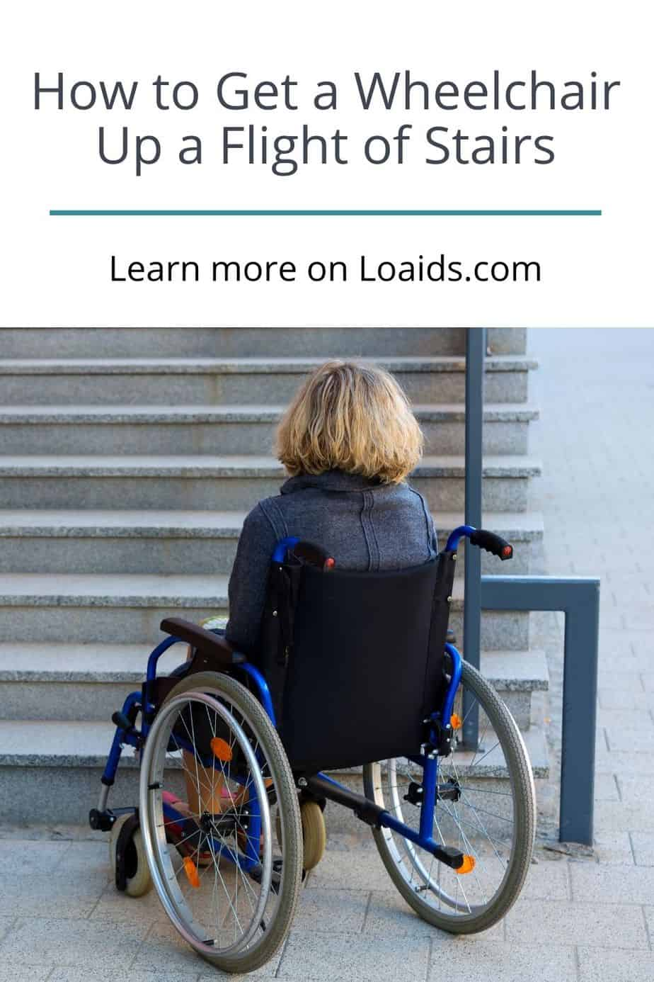 a lady thinking how to get a wheelchair up a flight of stairs