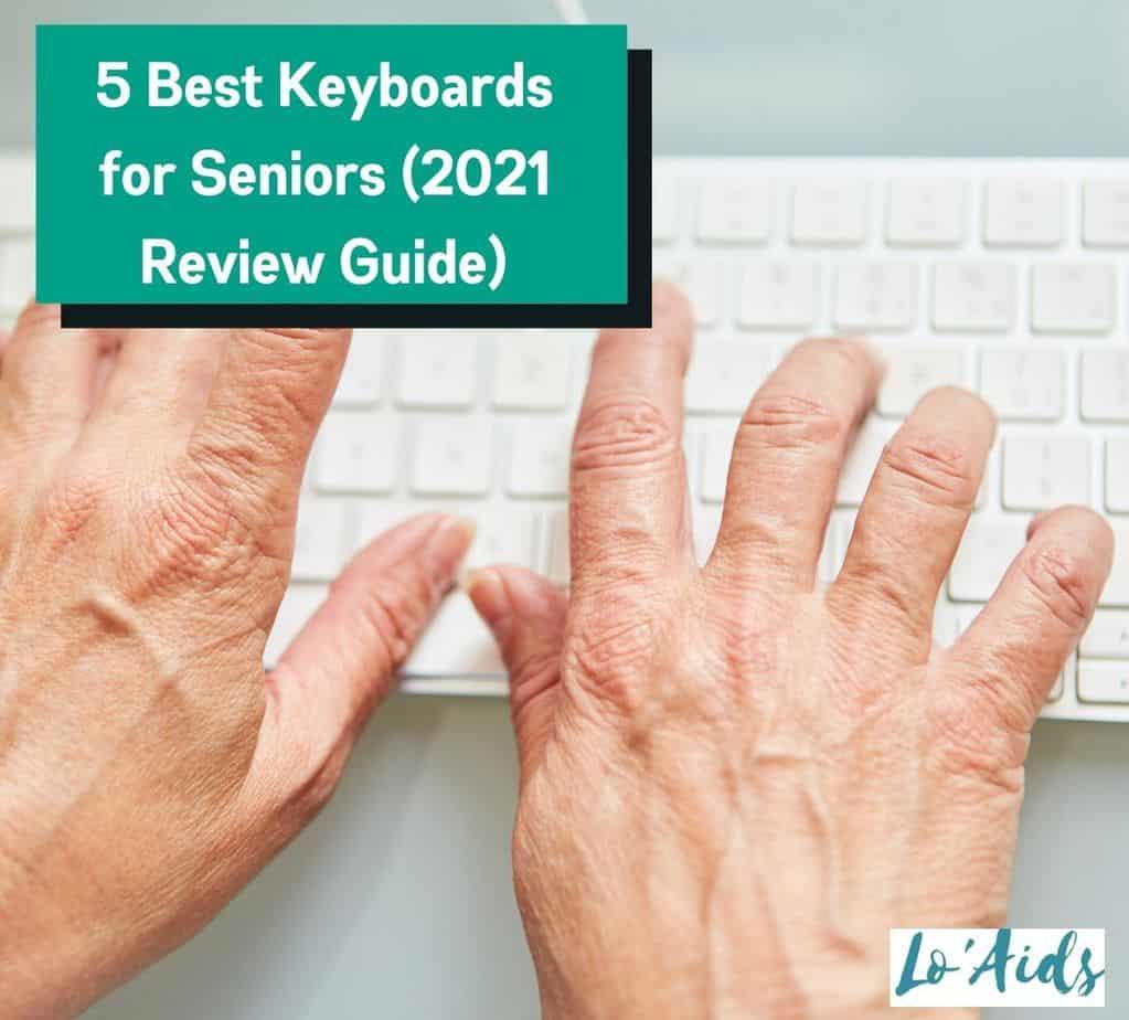 elderly woman's hands using a keyboard