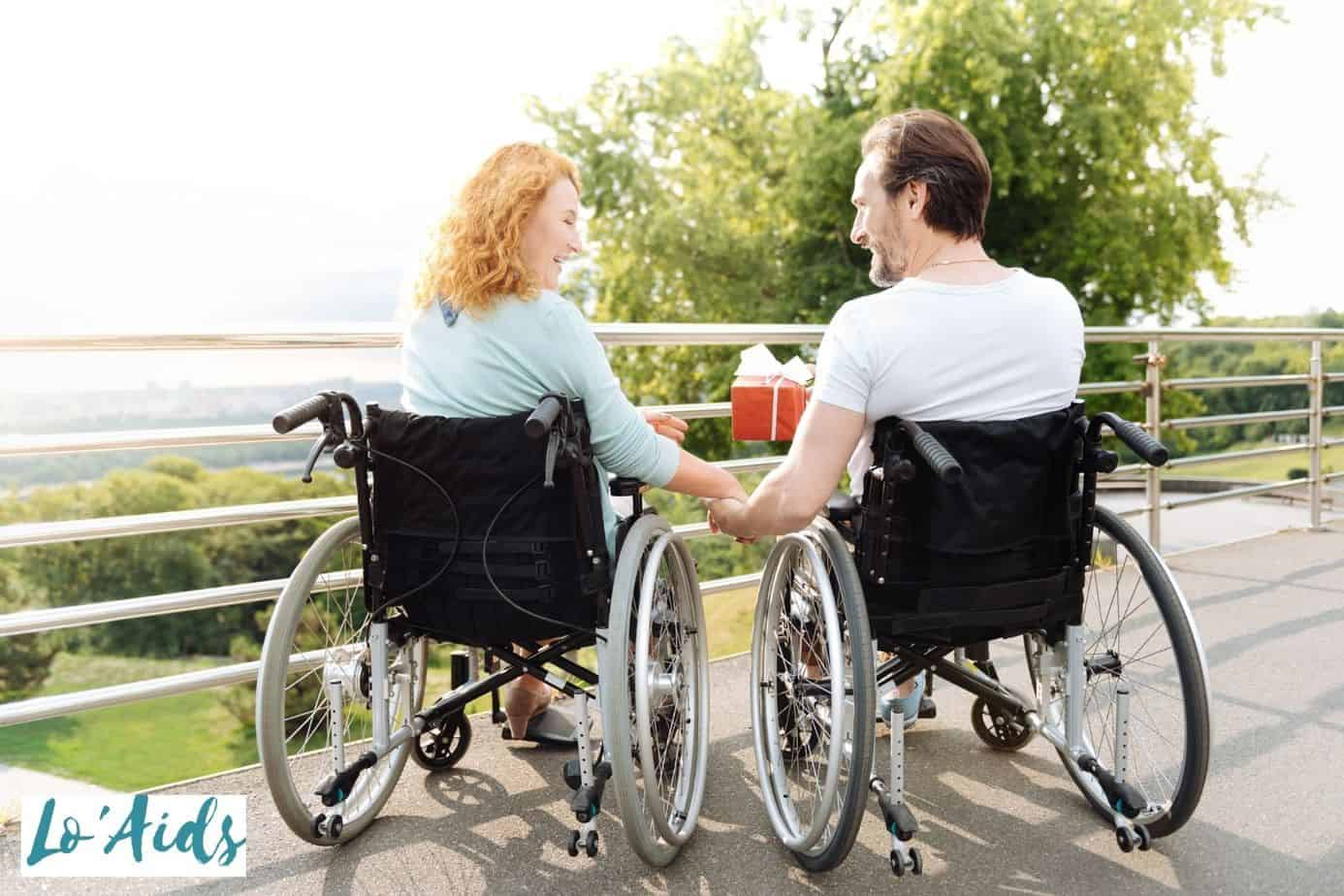 couple having a good time in their wheelchairs
