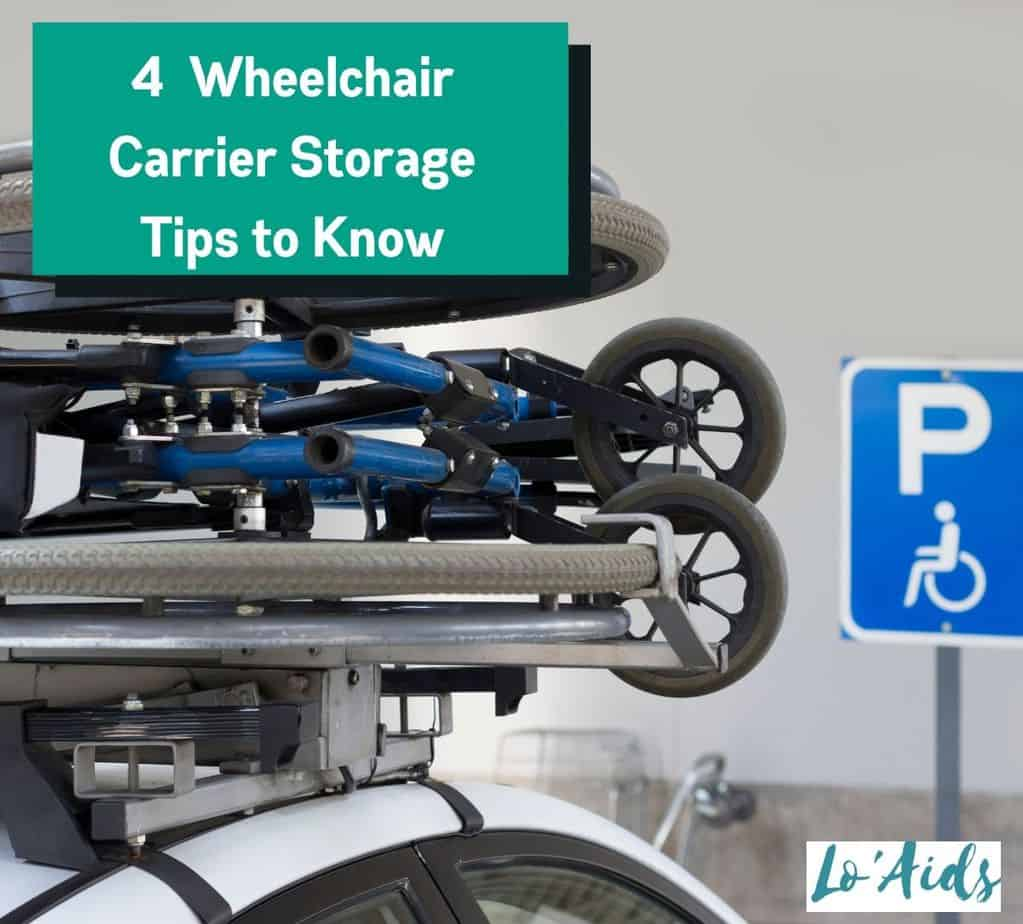 a wheelchair carrier stored on top of a car