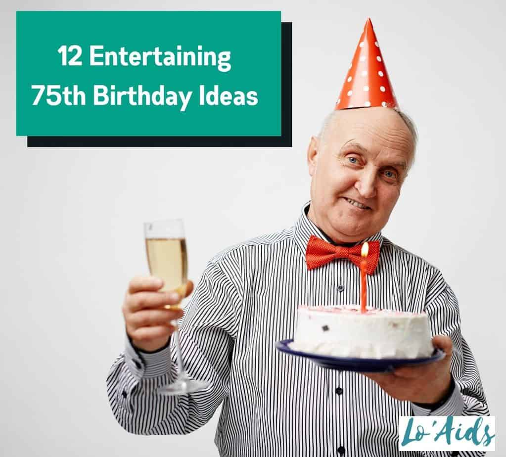a senior man holding a cake and wine for his 75th birthday