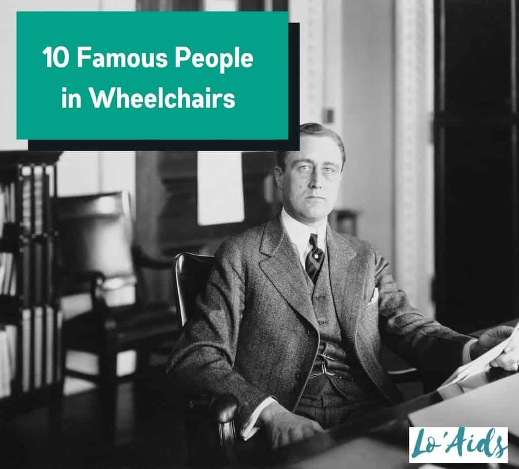 Franklin Roosevelt sitting in his office while holding a document. He is one of the most famous people in wheelchairs.