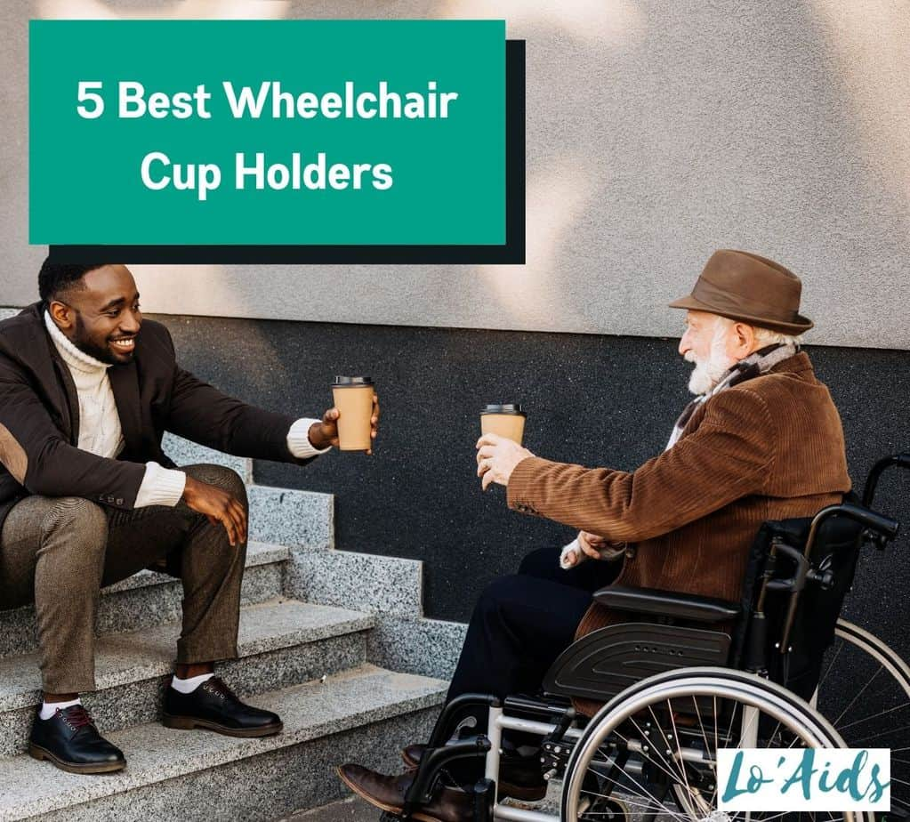 a senior man drinking coffee with his friend while he is using the best wheelchair cup holder