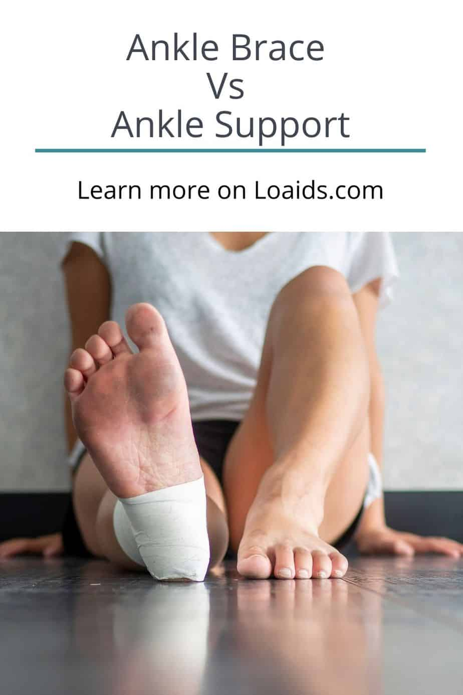 lady sitting on the floor with an ankle support