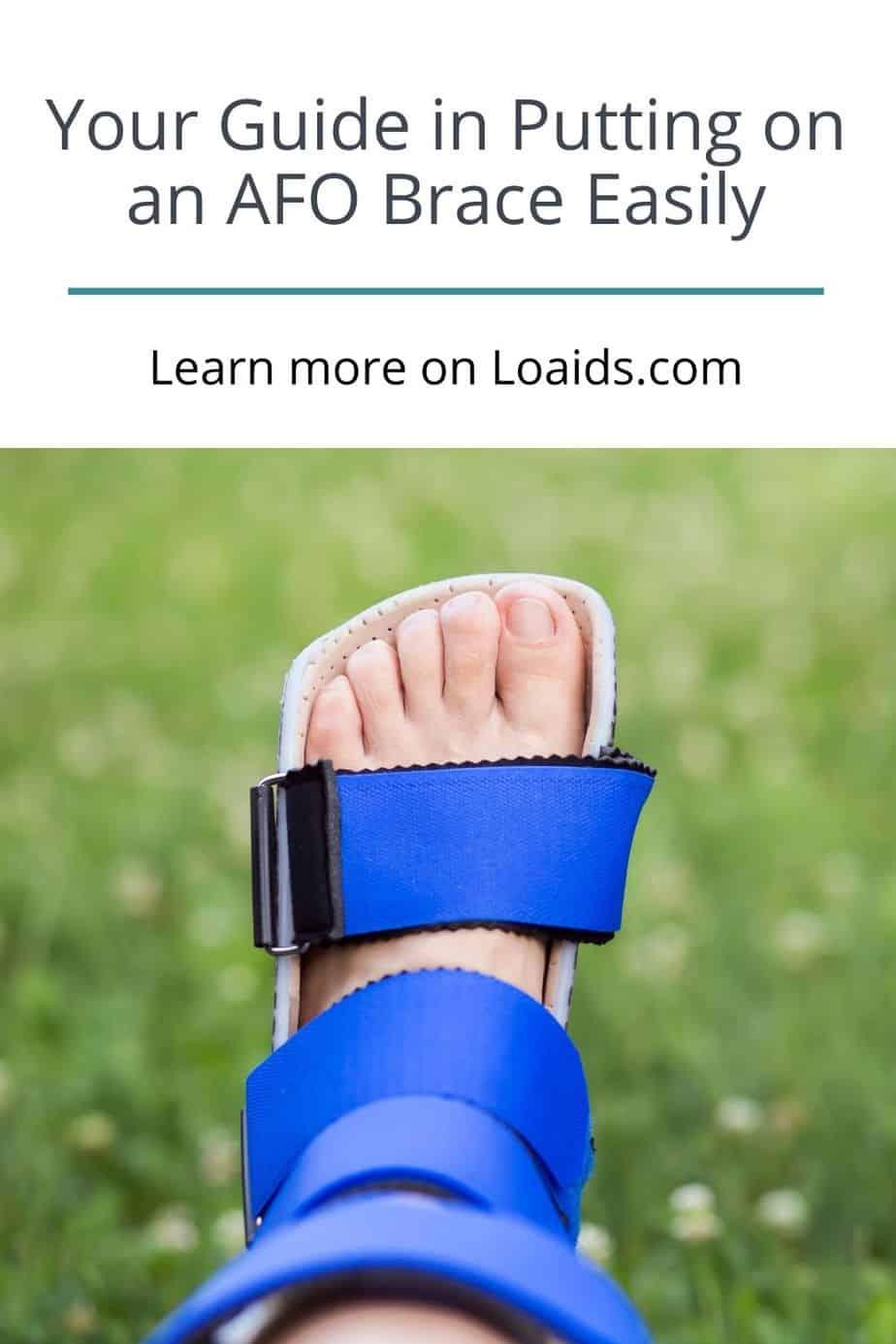 blue AFO brace put on in a lady's feet