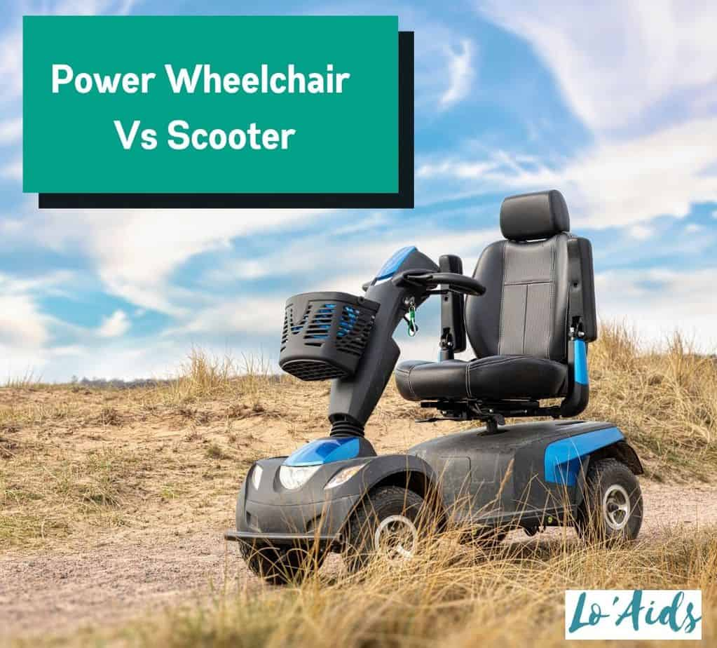mobility scooter placed on a rough road: power wheelchair vs scooter