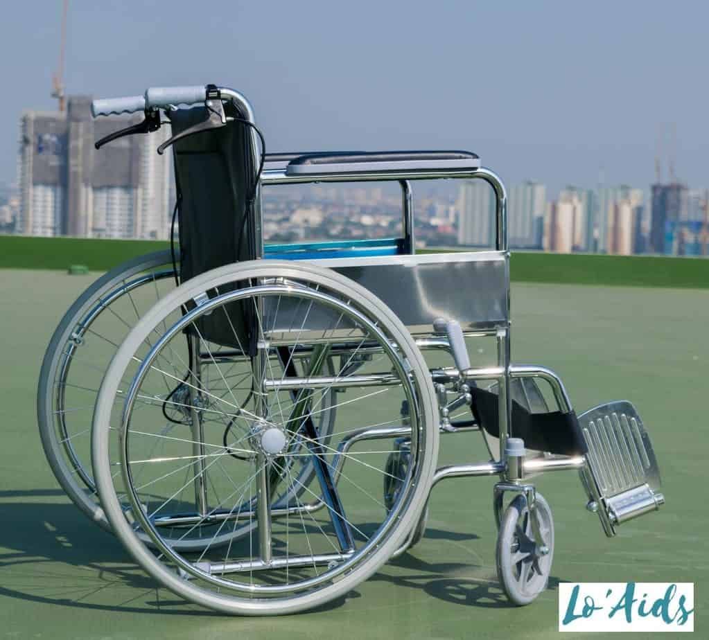 side view of a manual wheelchair in a rooftop
