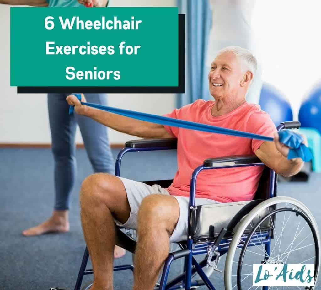 a happy senior man doing wheelchair exercises for seniors