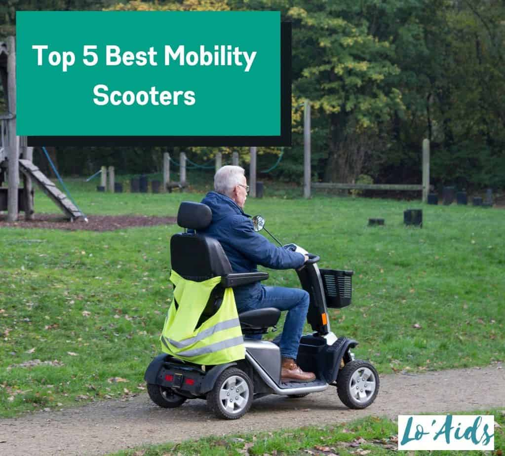 a senior man driving one of the best mobility scooters at the park