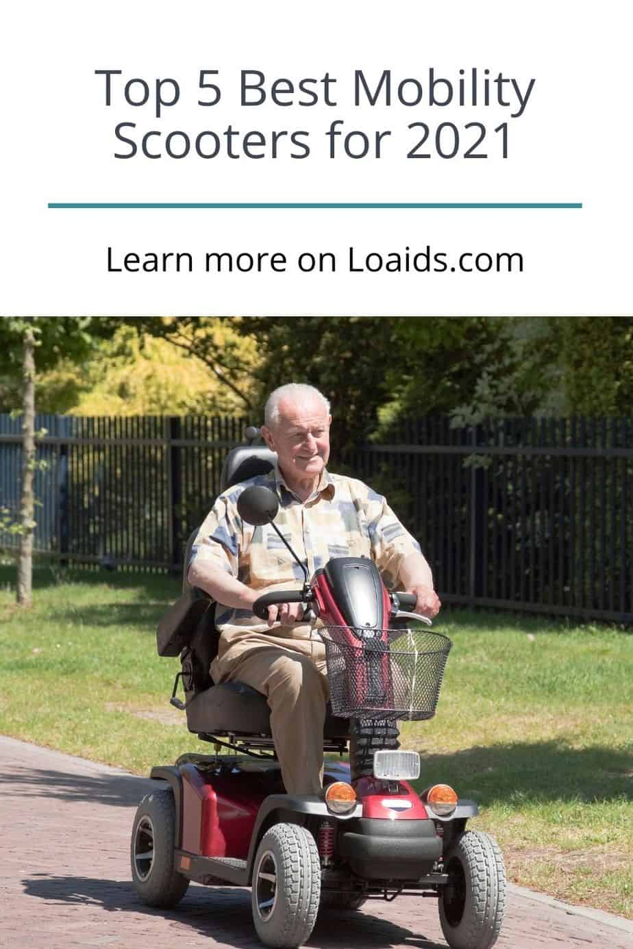 a senior man happily riding one of the best mobility scooters