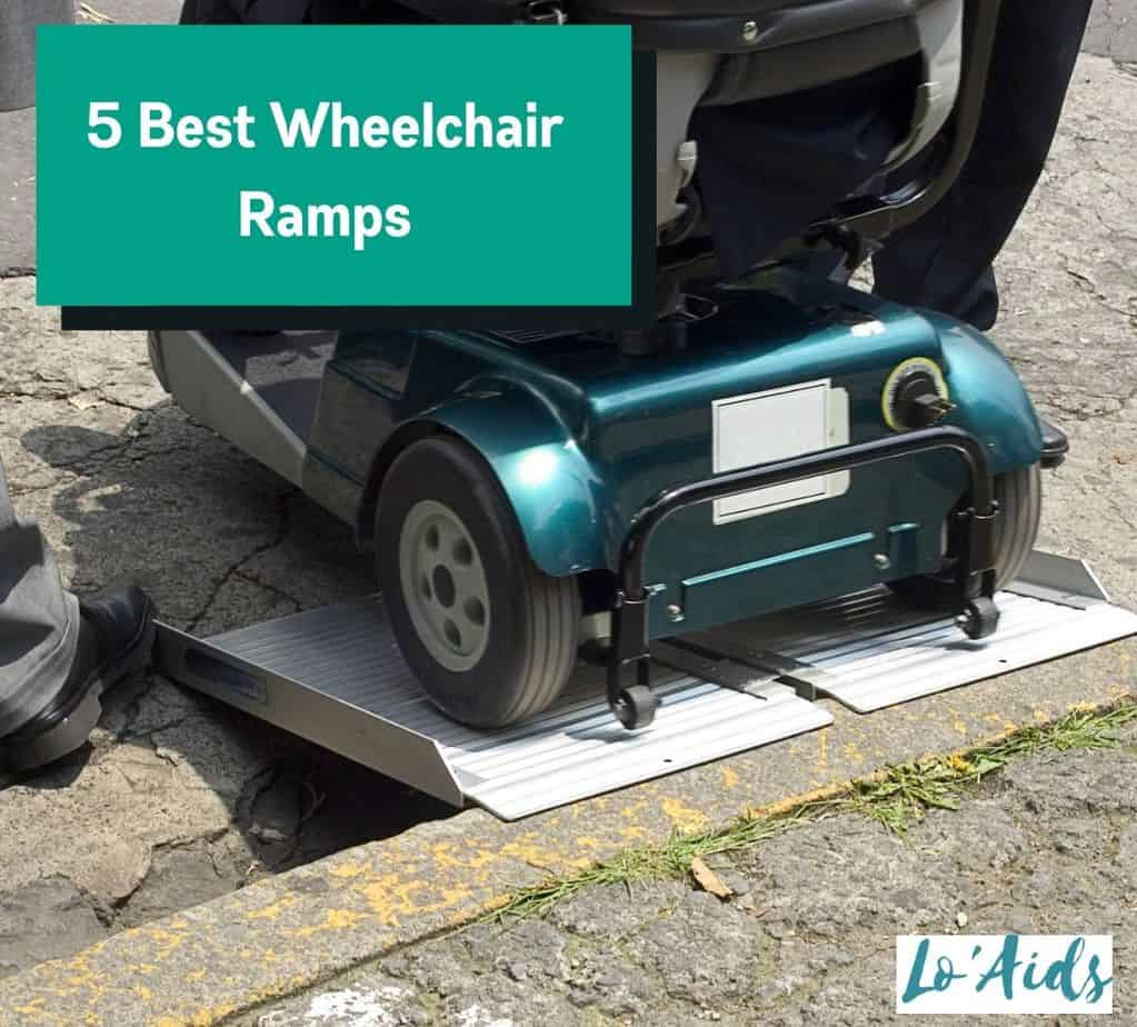 close-up shot of a power wheelchair using the best wheelchair ramps