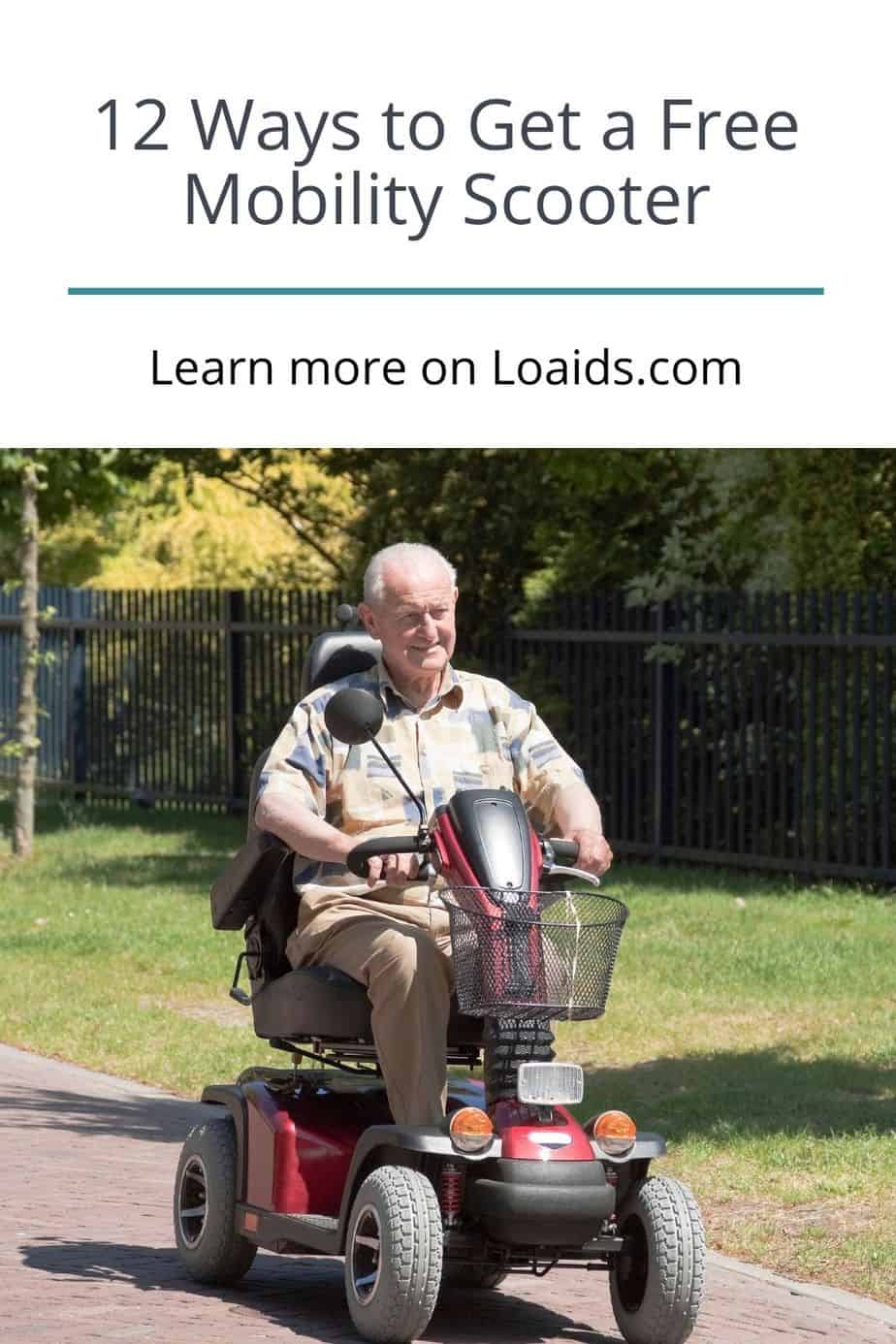 a senior man smiling while riding a free mobility scooter