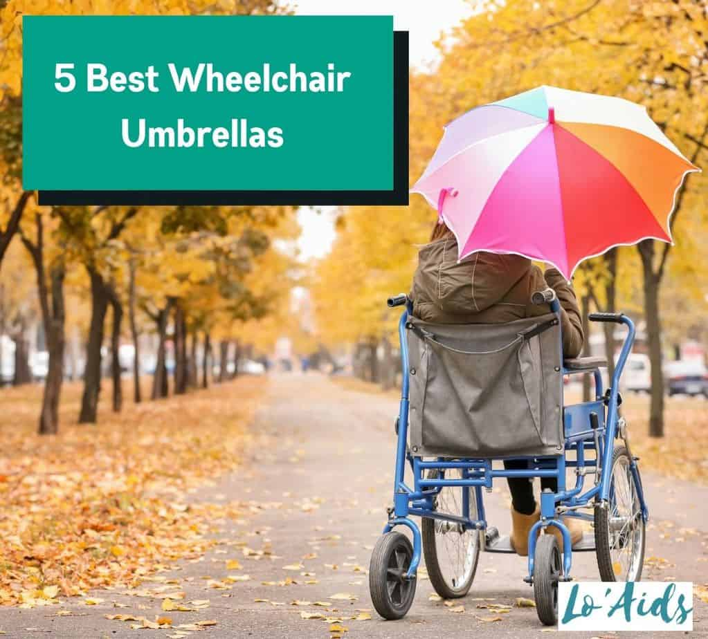 a lady using the best wheelchair umbrella while strolling at the park