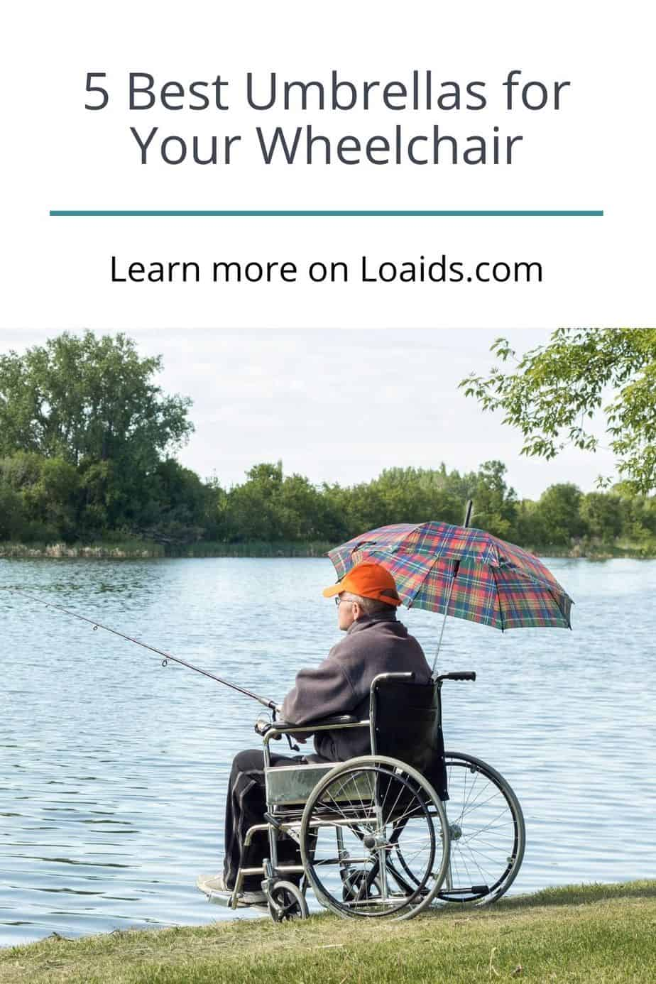 a senior in a wheelchair fishing in the lake with his umbrella