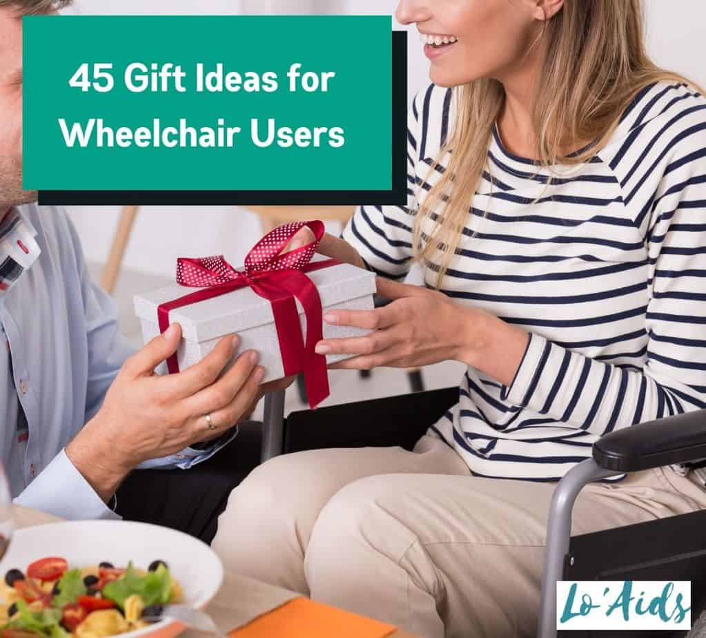 husband giving gift to his wife in a wheelchair