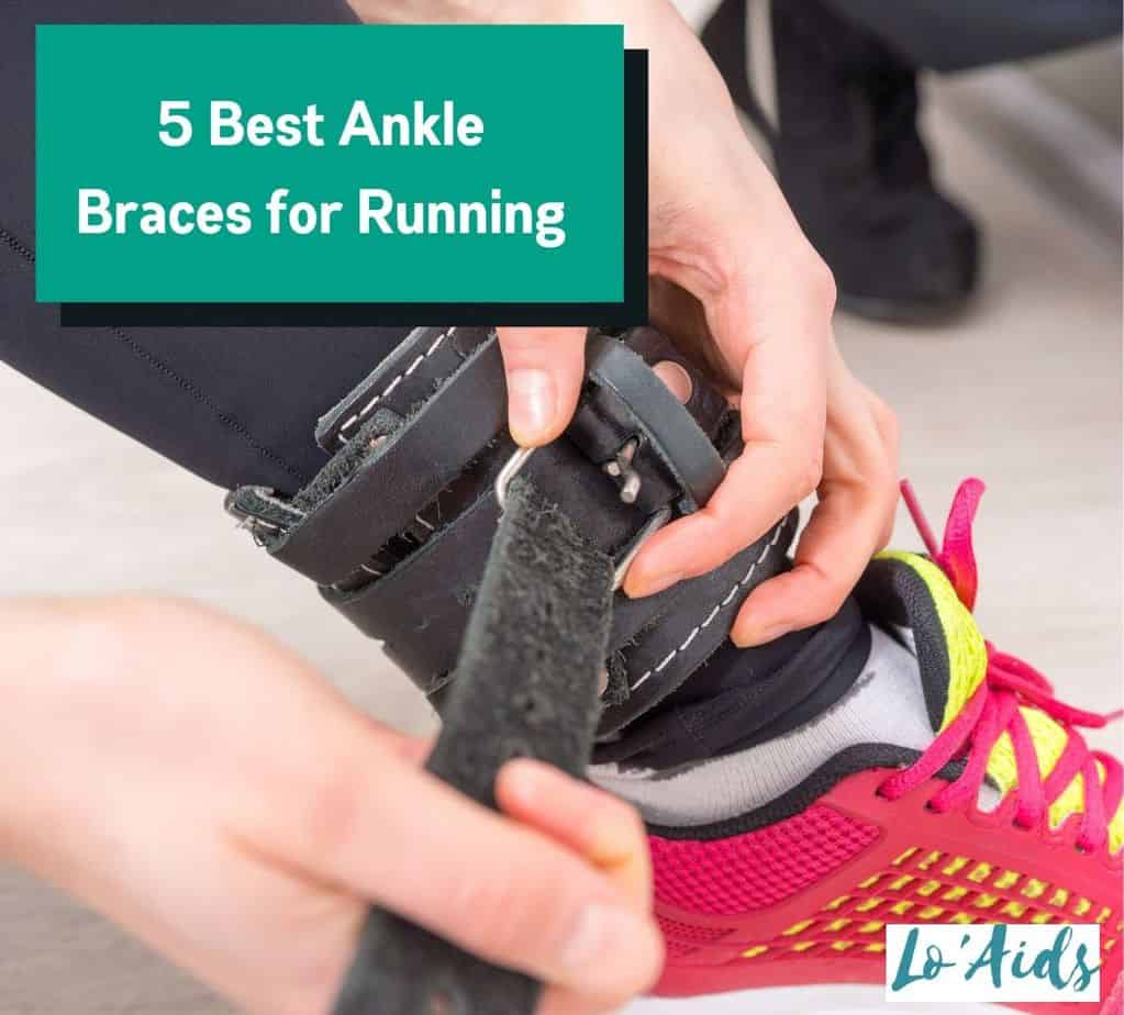 woman wearing the Best Ankle Brace for Running with her pink rubber shoes