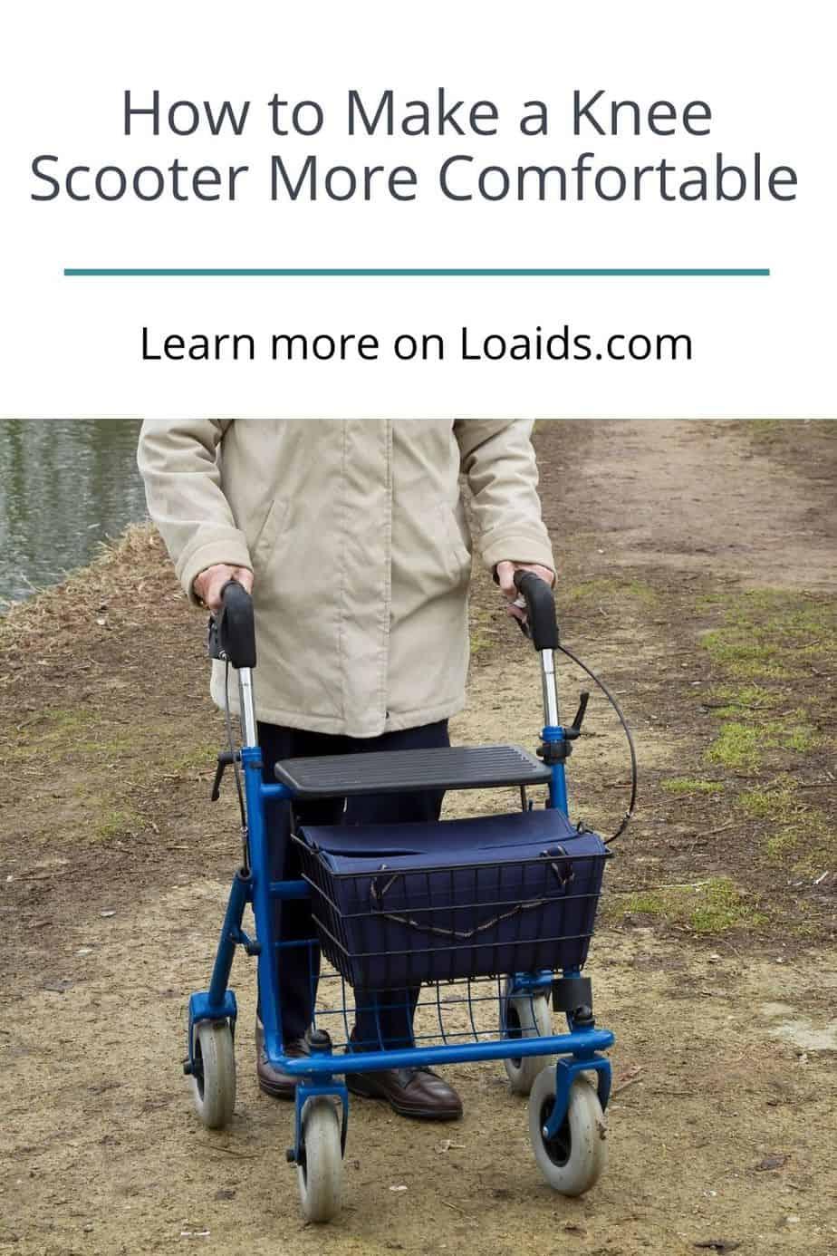 senior woman using knee walker to walk around