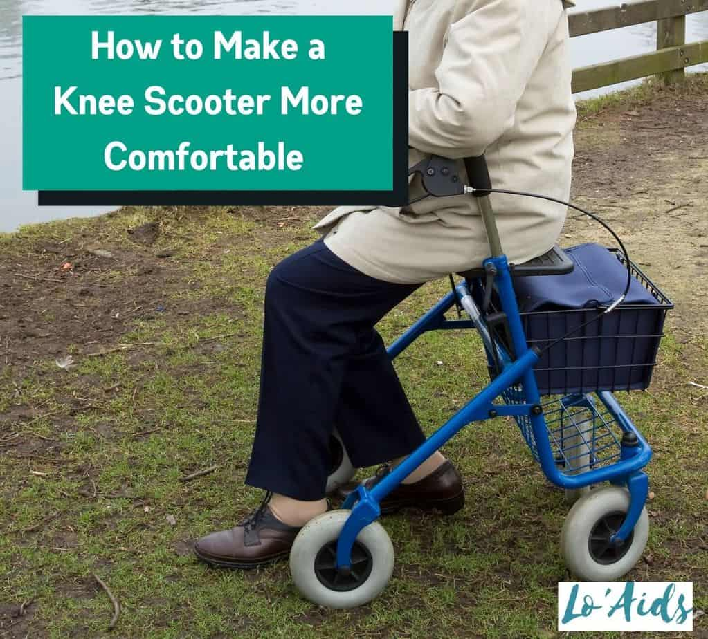 a senior woman using a knee scooter but How to make a knee scooter more comfortable?