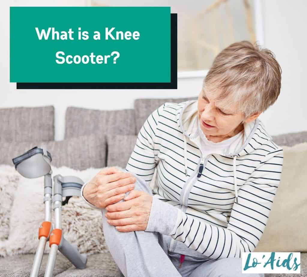 a senior woman having a knee pain: what is a knee scooter to use instead?