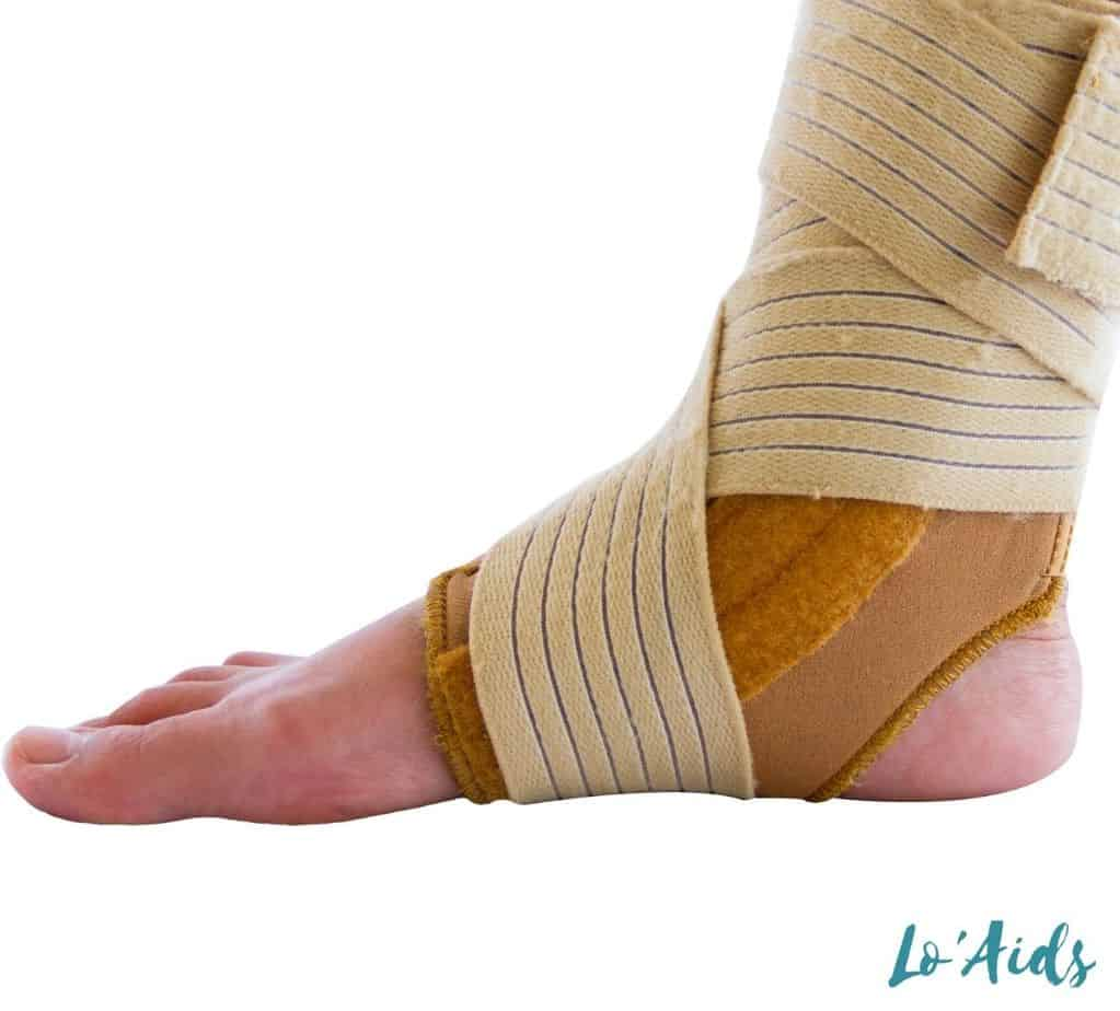 foot covered with an ankle brace
