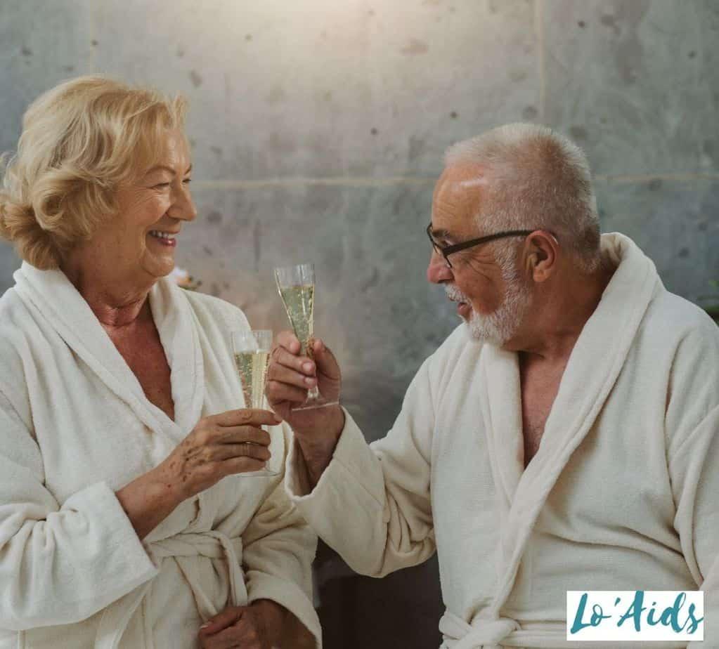 senior couple having spa night