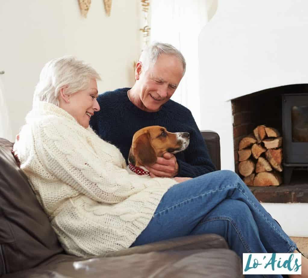 senior couple petting a dog