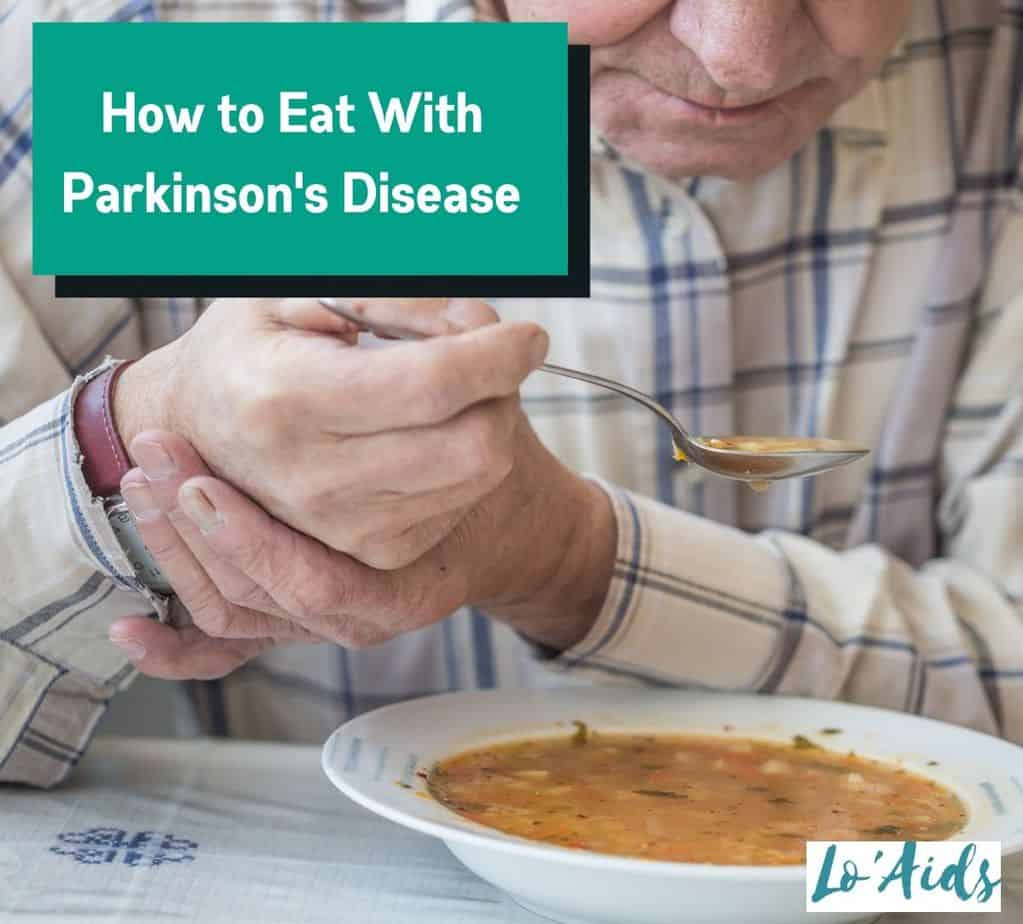 senior man with Parkinson's is eating soup but How to Eat With Parkinson's Disease properly?