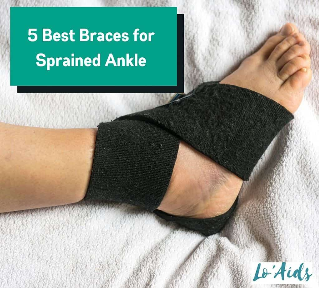 man's right foot wearing the best brace for sprained ankle