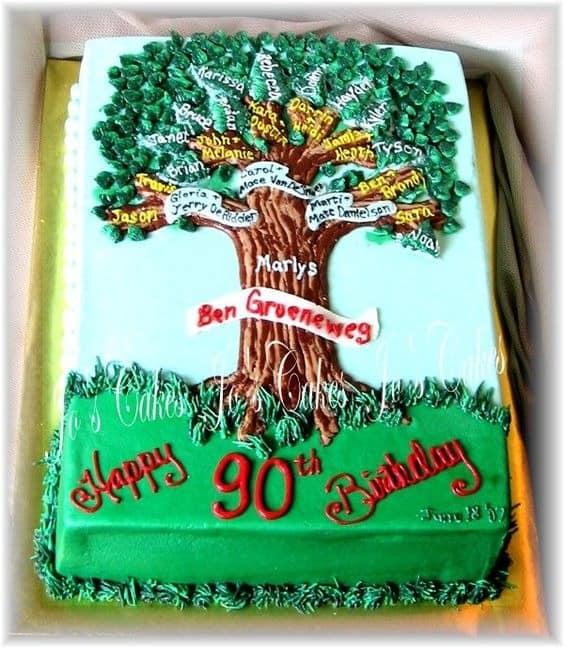 family tree 90th birthday cake ideas