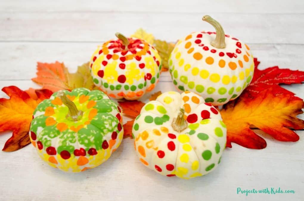 pumpkin Q-tip thanksgiving craft